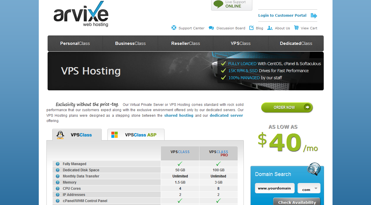 arvixe VPS hosting packages